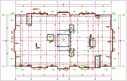 Construction view of wall in floor plan dwg file