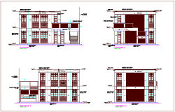Construction view with elevation view of building dwg file