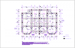 Construction view with first floor foundation of duplex dwg file