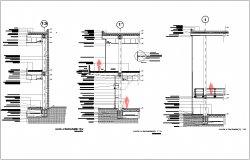 Construction view with floor area sectional elevation dwg file