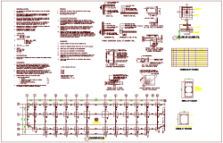 Construction view with foundation view of commercial building dwg file