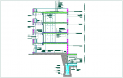 Construction view with section of residence area dwg file