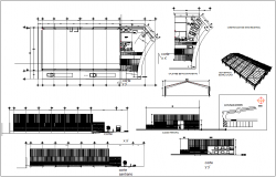 Construction view with section view of industrial ware house dwg file