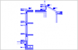 Construction view with sectional view of building dwg file