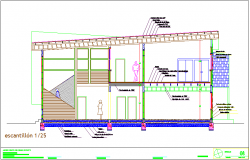 Constructional section view for residential area dwg file