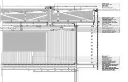 Constructive detail of building in steel three levels dwg file