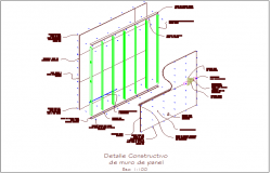 Constructive detail of panel wall design dwg file