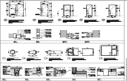 Constructive details and doors installation of shopping center dwg file