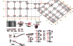 Constructive details of administrative building dwg file
