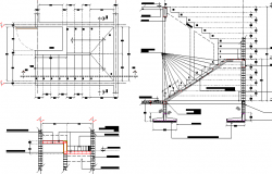 Constructive details of concrete staircase of office dwg file