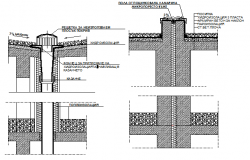 Constructive details of extreme indoor ceiling dwg file