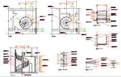 Constructive details of staircase of shopping center dwg file