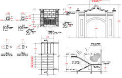 Constructive details of two story commercial shopping center dwg file