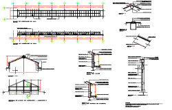 Constructive details with column and beam of shopping center dwg file