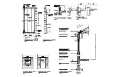 Constructive section and doors and windows installation details of building dwg file