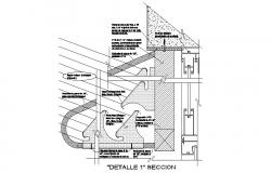 Constructive section details of one family house dwg file