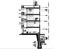 Constructive section details three story office building dwg file