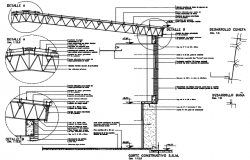 Constructive section floor roof retiular structure detail dwg file