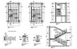 Constructive section with stairs, framing plan and cover plan details of hotel dwg file