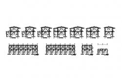 Constructive sectional details of multi-family housing buildings dwg file