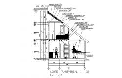 Constructive sectional details of two-story house dwg file