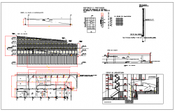 Containment ramp plan elevation and section view detail dwg file