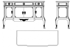 Continental long cabinet cad blocks
