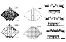 Convention center building elevation and sanitary installation details dwg file