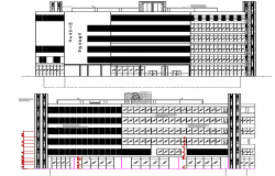 Convention center front and back elevation view dwg file