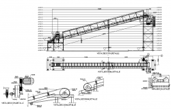 Conveyor belt detail CAD machinery 2d view layout dwg file