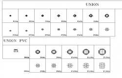 Copper union and steel pipe union plan detail dwg.