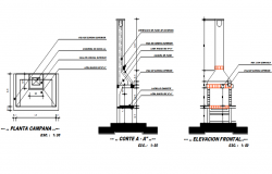 Core cutting machine plan, elevation and section detail dwg file