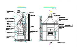 Core machine plan and elevation detail dwg file