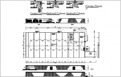 Corner column side wall column end wall, plan view details dwg file
