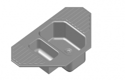 Corner kitchen sink top view 3d detail