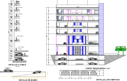 Corporate Building Section Plan dwg file