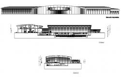 Corporate building elevation and section cad drawing details dwg file