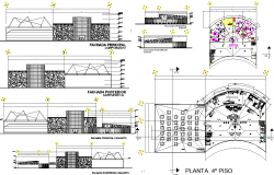 Corporate building structure plan elevation view detail dwg file