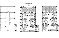 Corporate building two floor plan and cover plan details dwg file