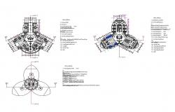 Corporate head office building floor plan layout details dwg file