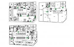 Corporate office building ground, first and terrace floor plan details dwg file