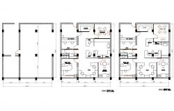 Corporate office floor plan and furniture layout plan details dwg file