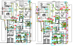 Corporate office layout plan with electric and sanitary installation details dwg file