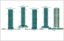 Corporation office building plan detail and elevation view dwg file