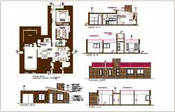 Cottage house design view  with plan and sectional view dwg file