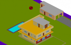 Country house 3 D in choice per Plan detail dwg file