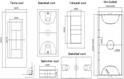 Court and fields detail dwg file