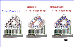 Court design with floor view and fire fighting dwg file