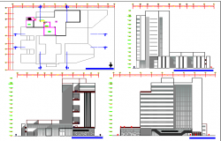 Court house building elevation, section  and plan details dwg file