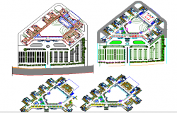 Court landscaping, site plan and floor plan details dwg file